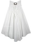 White Boho Smart Skirt Dress with Smocked Waist