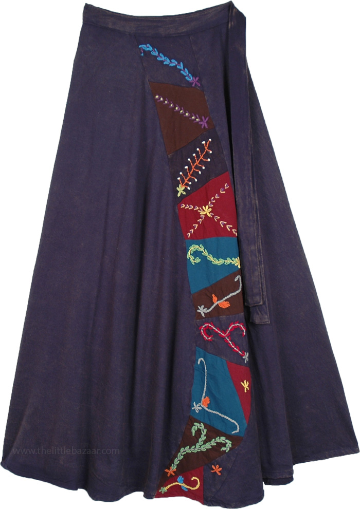 Deep Blue Wrap Around Skirt with Embroidery Panels