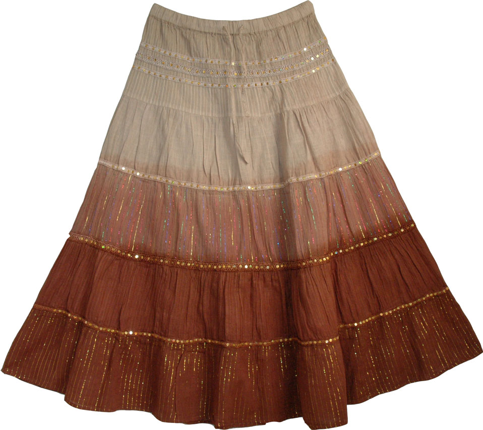 Brown Shaded Sequin Long Skirt