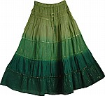 Sequin Green Long Skirt