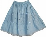 Blue Summer Short Skirt  with Lace