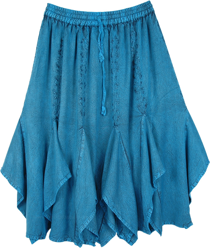 Tempting Teal Gored Mid Length Western Skirt