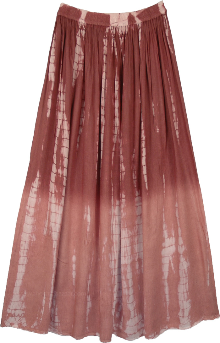 Brown Ombre Tie Dye Flowy Extra Long Skirt