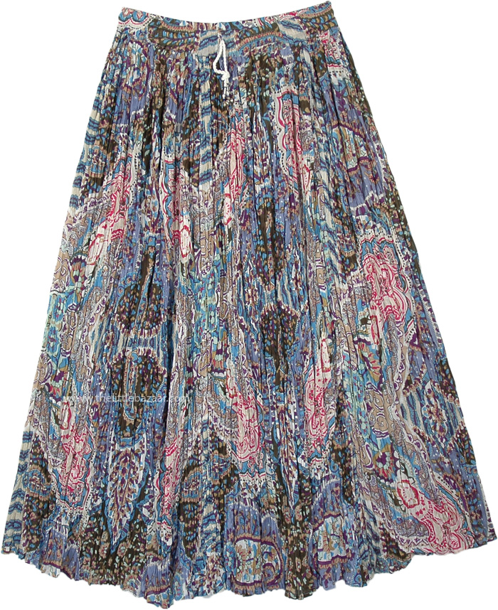 Paisley Printed Crinkled Cotton Summer Skirt