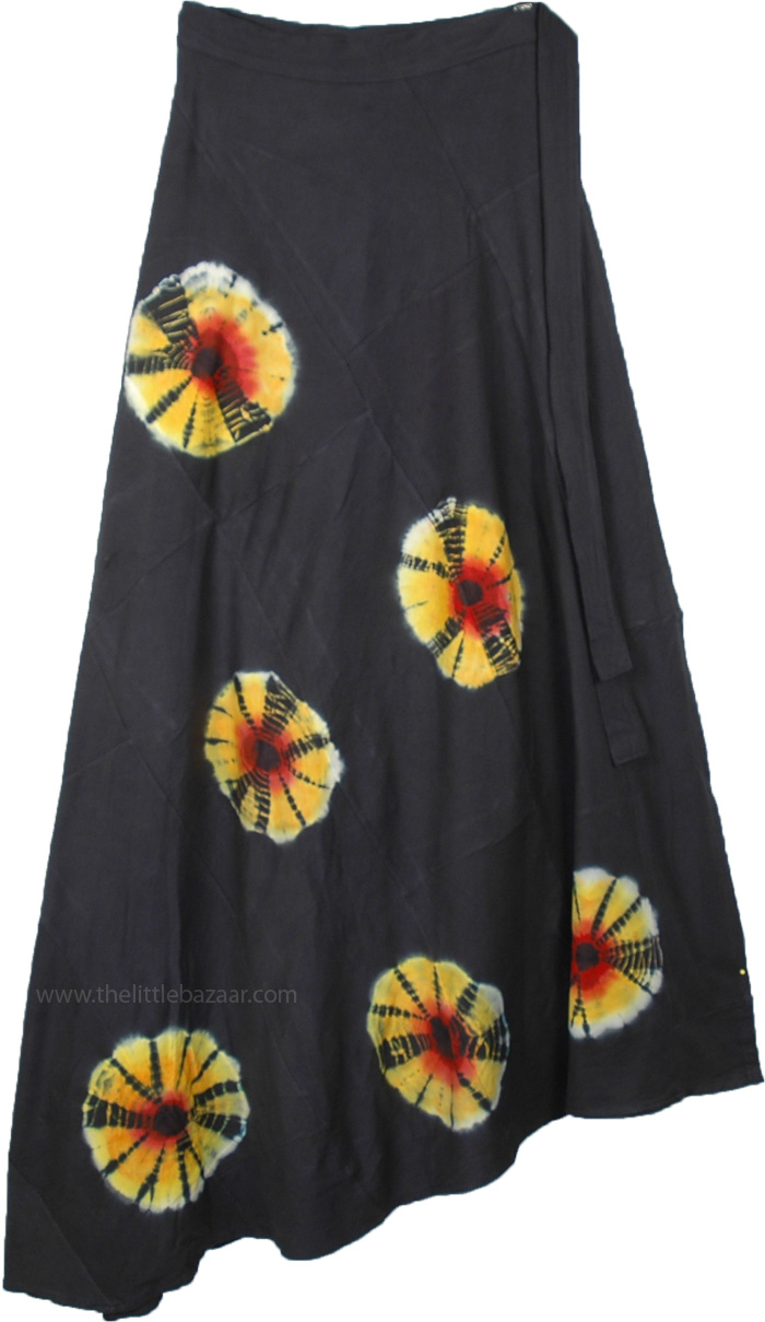 Solar Flares Black Hippie Tie Dye Wrap Around Skirt