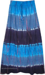 Three Blue Hues Tie Dye Long Summer Skirt