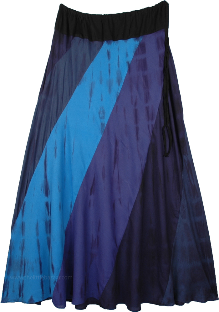 Blue Hue Tie Dye Drawstring Waist Long Skirt