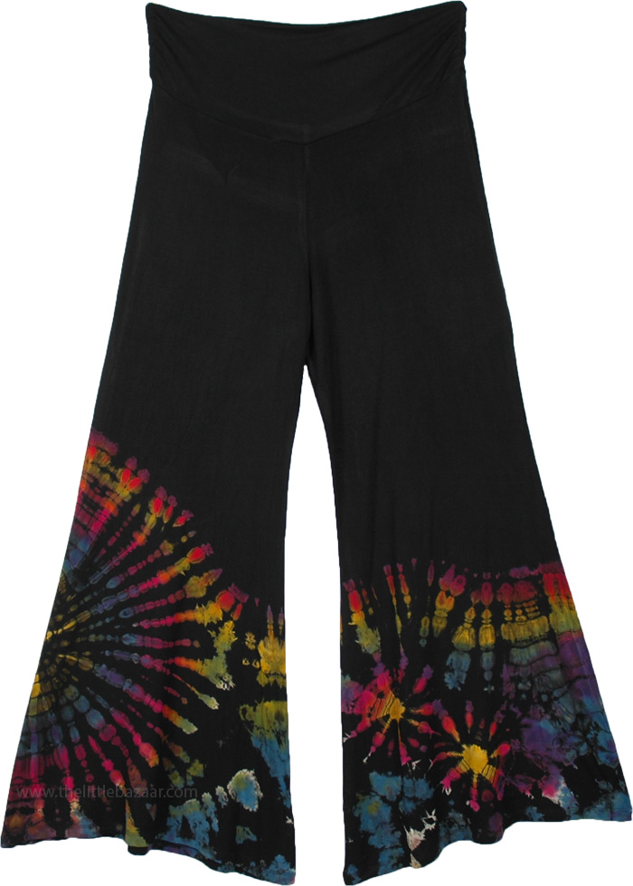 Carnival Hippie Pants in Black with Hand Tie Dye Effect