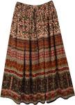 Brown Bagru Print Rayon Skirt with Paisley Print
