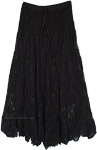 Hand Knit Crochet Pattern Cotton Long Skirt in Black