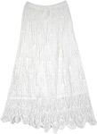 All Crochet Pattern Cotton Long Skirt in Milky White