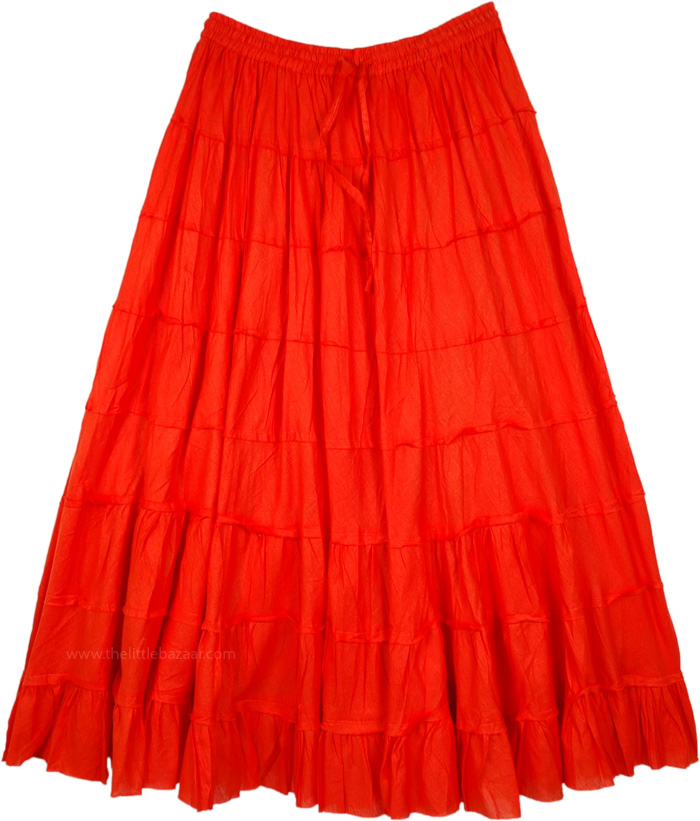 Tomato Red Long Tiered Skirt in Cotton