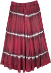 Crimson Red Acid Wash Tie Dye Skirt in Rayon