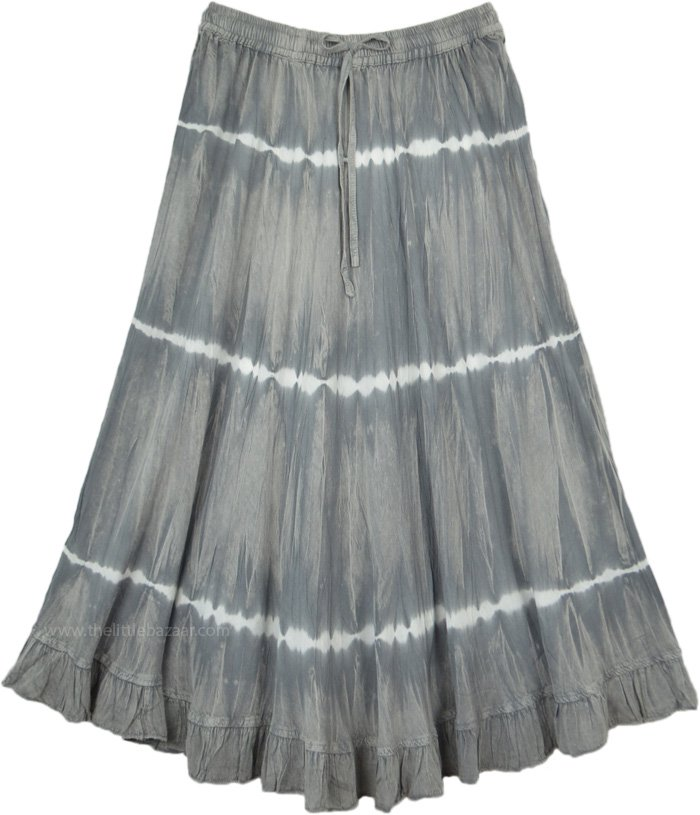 Electric Grey Acid Wash Tie Dye Skirt in Rayon
