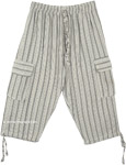 Gray Smoke Boho Striped Capri Trousers with Pockets