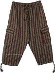 Hippie Woods Striped Boho Capri Pants with Pockets