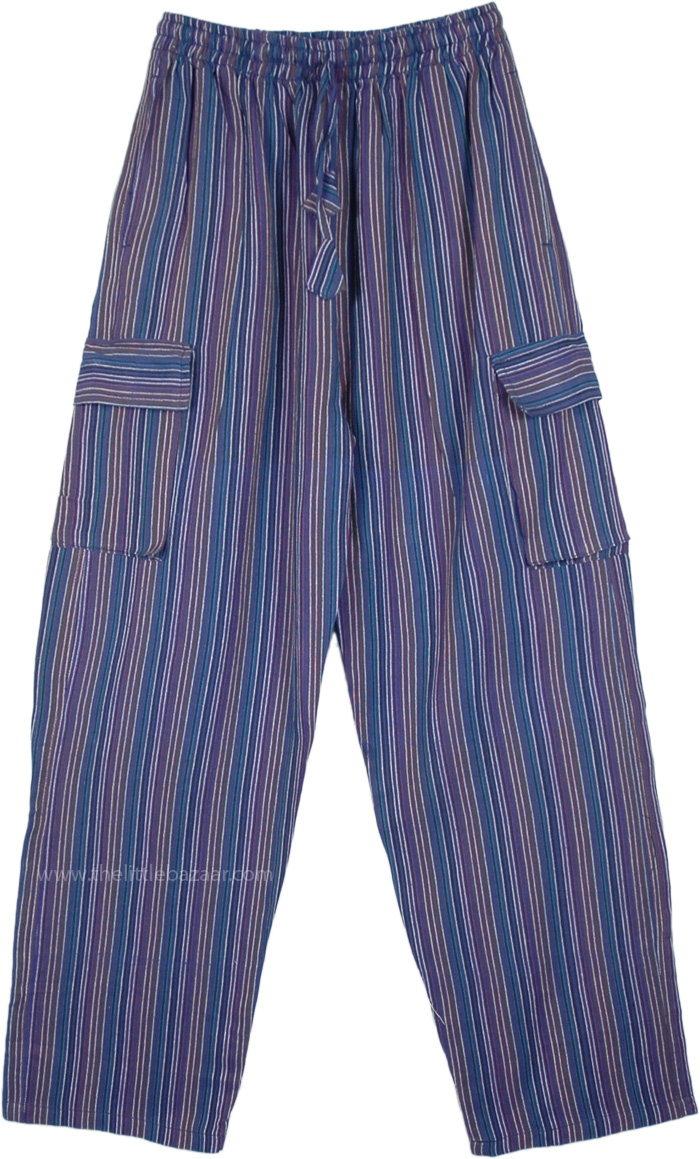 Cobalt Striped Cotton Unisex Boho Trousers with Pockets