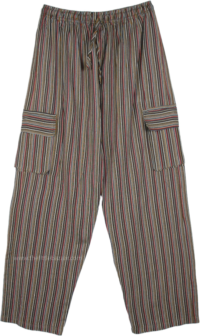 Khaki Striped Cotton Unisex Boho Pants with Pockets
