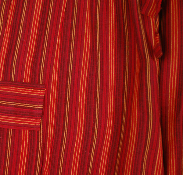 Red Boho Striped Cotton Trousers with Pockets