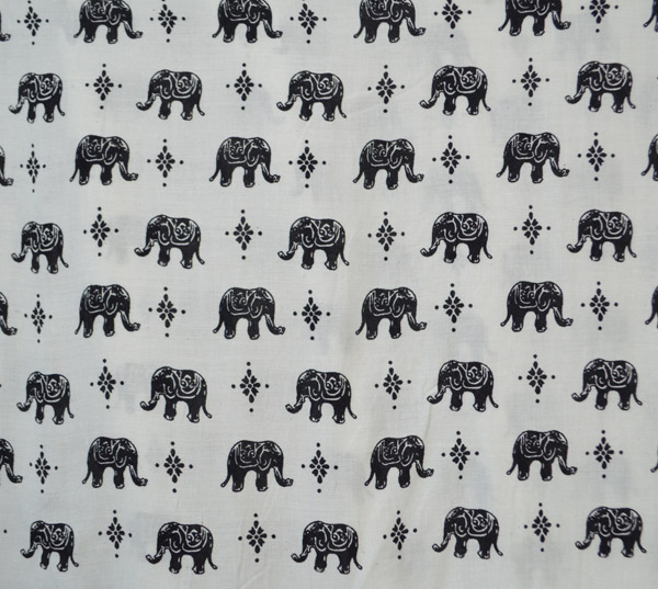Black White Baby Elephant Parade Printed Beach Pants