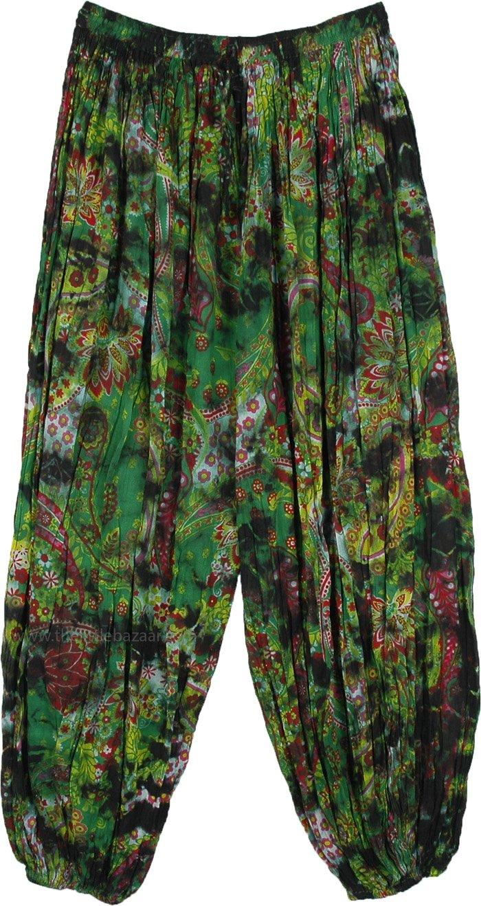 Crete Green Crinkled Cotton Ankle Elastic Pants