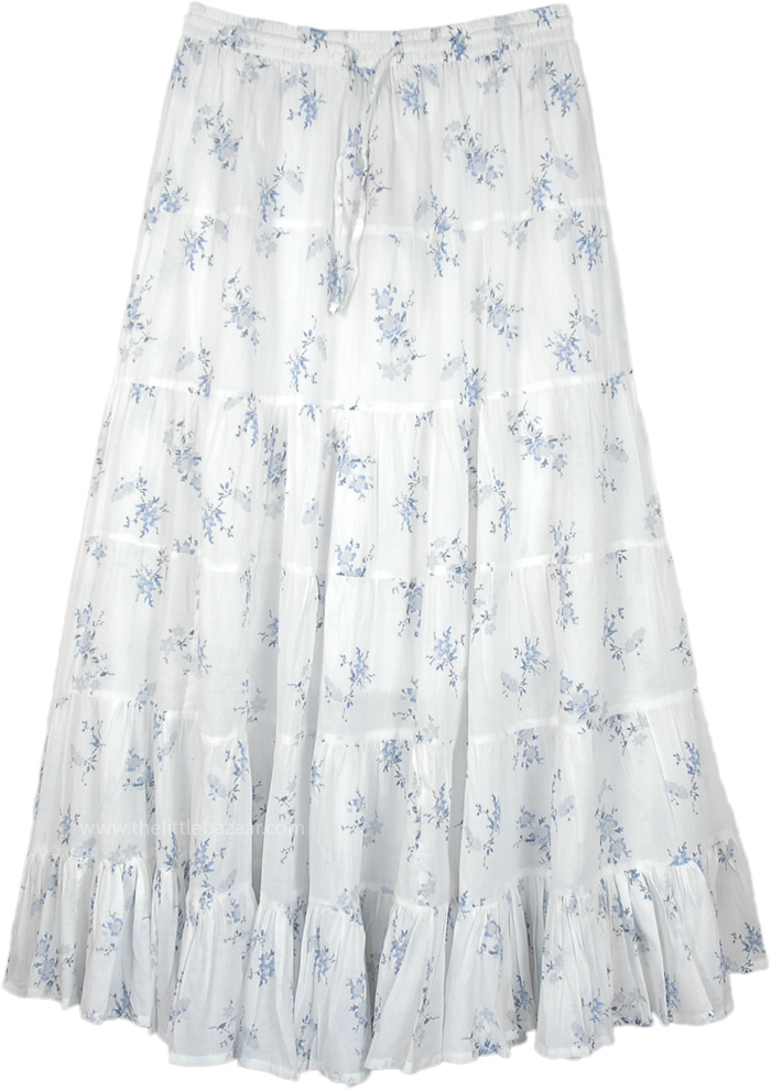 Snow Flowers Tiered Cotton Long Skirt