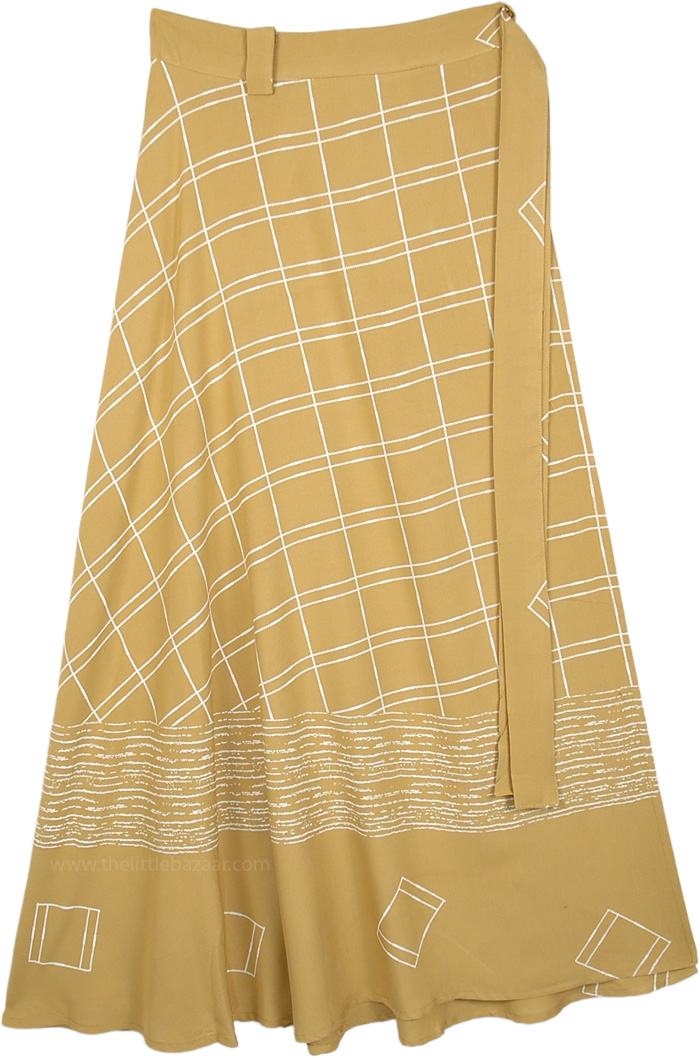 Harvest Gold Block Printed Rayon Long Wrap Skirt