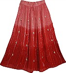 Pink Red Long Skirt with Mirrors
