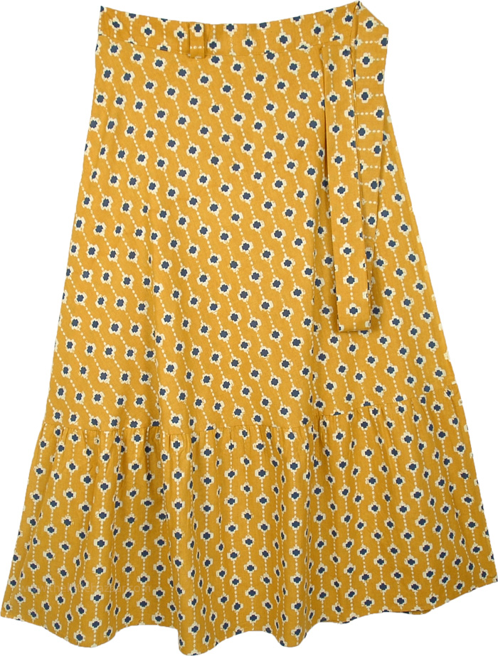 Deep Turmeric Yellow Plus Size Long Wrap Around Skirt