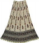 Light Brown Crinkle Summer Long Skirt