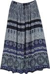 Jodhpur Blue Ethnic Printed Long Gypsy Skirt