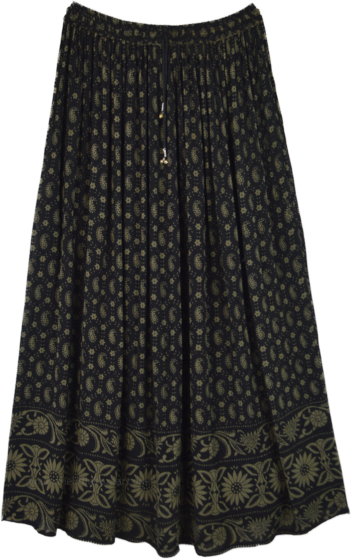 Muddy Grey Paisley Print Long Gypsy Skirt