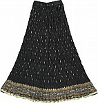 Black Crinkle Long Skirt