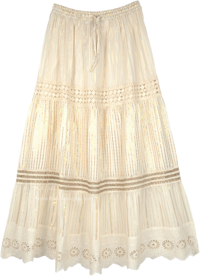 Light Beige Lurex Skirt with Crochet and Tinsel