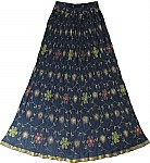 Navy Blue Crinkle Long Skirt