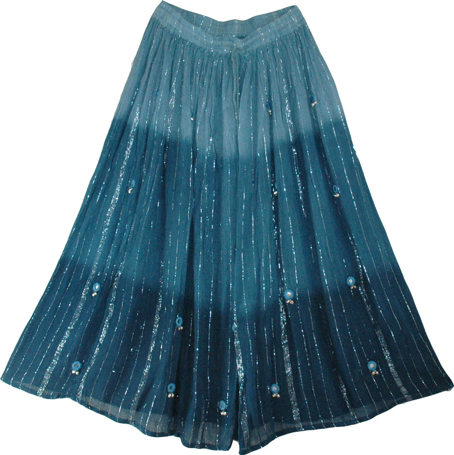 Blue long skirt with mirrors and bells- this indian long skirt is ...
