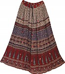 Ethnic Skirt in Red Gypsy Print