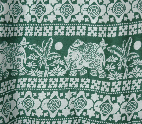 Green Harem Pants with Elephant Print and Pockets