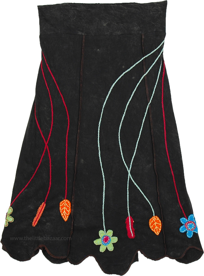 Stonewashed A-line Black Skirt with Floral Applique