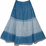 Sequin Blue Summer Long Skirt