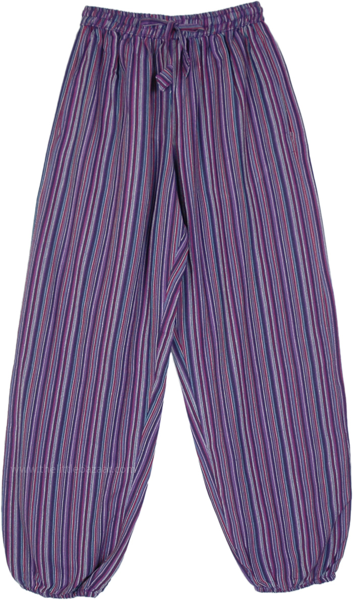 Purple Striped Cotton Harem Pants with Pockets
