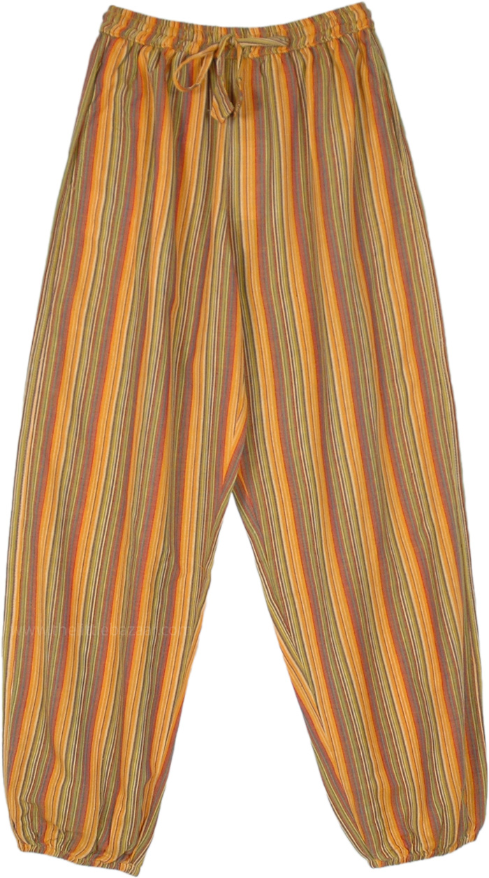 Dusky Orange Striped Cotton Pants with Pockets
