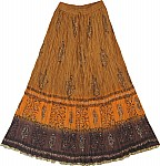 Dancing Princess Brown Golden Ethnic Long Skirt