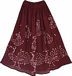 Wine Berry Summer Long Skirt