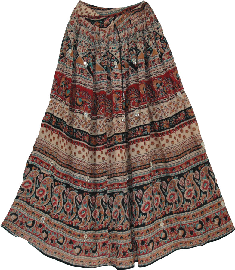 Ethnic indian long skirt with batik printing - This womens long skirt has a lot of color and character, Bohemian Skirt with Floral Print
