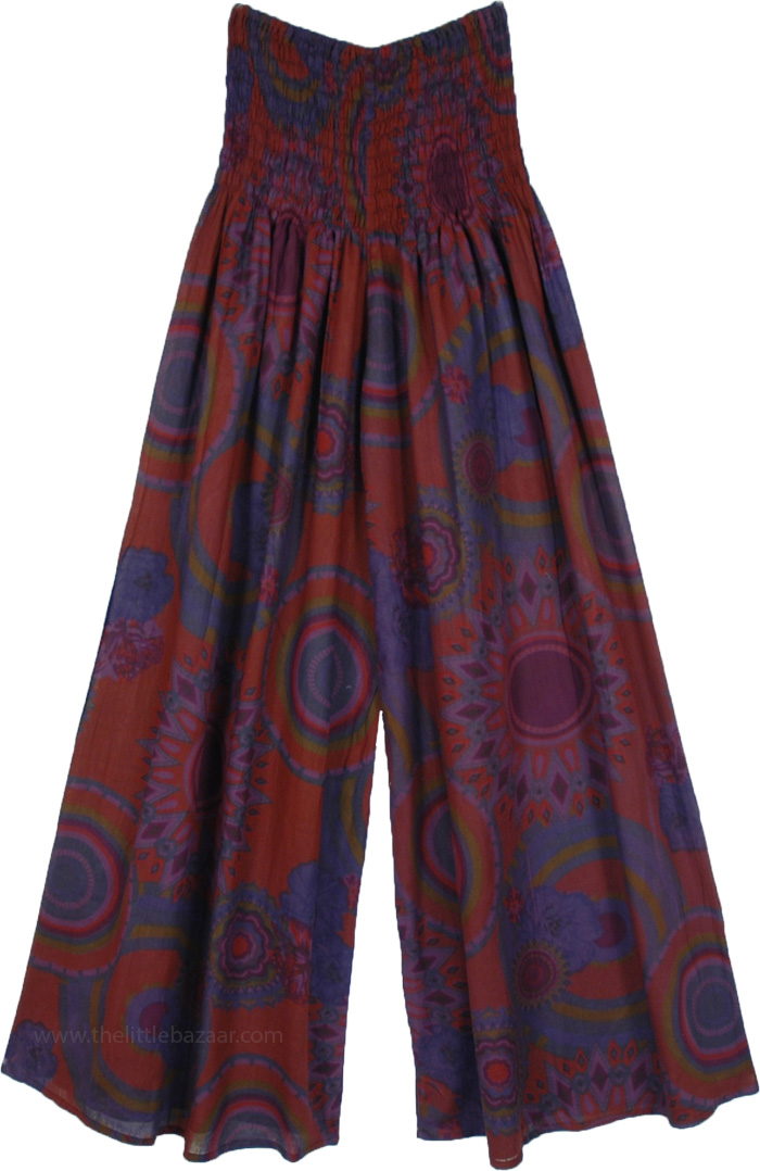 Floral Print Split Skirt Beach Pants with Smocked Waist