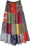 Happy Vibes Bohemian Cotton Skirt with Mixed Patchwork