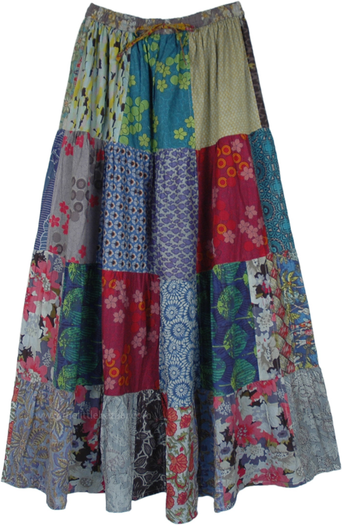 Abstract Mixed Print Cotton Patchwork Maxi Skirt