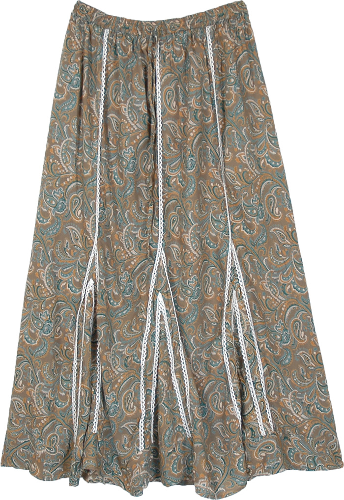 Paisley Print Brown Long A-Line Skirt with Lace