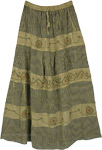 Olive Green Tiered Rayon Long Skirt